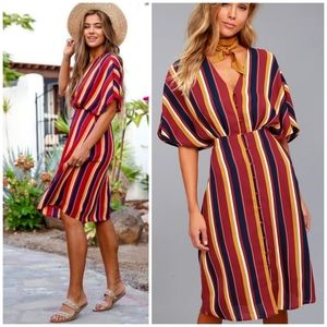 Ali & Jay Dreamer Wine Red Striped Midi Dress XS